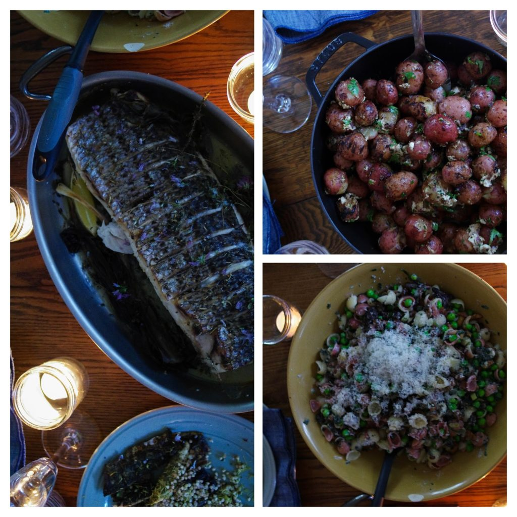 mackerel, baked potatoes and pasta