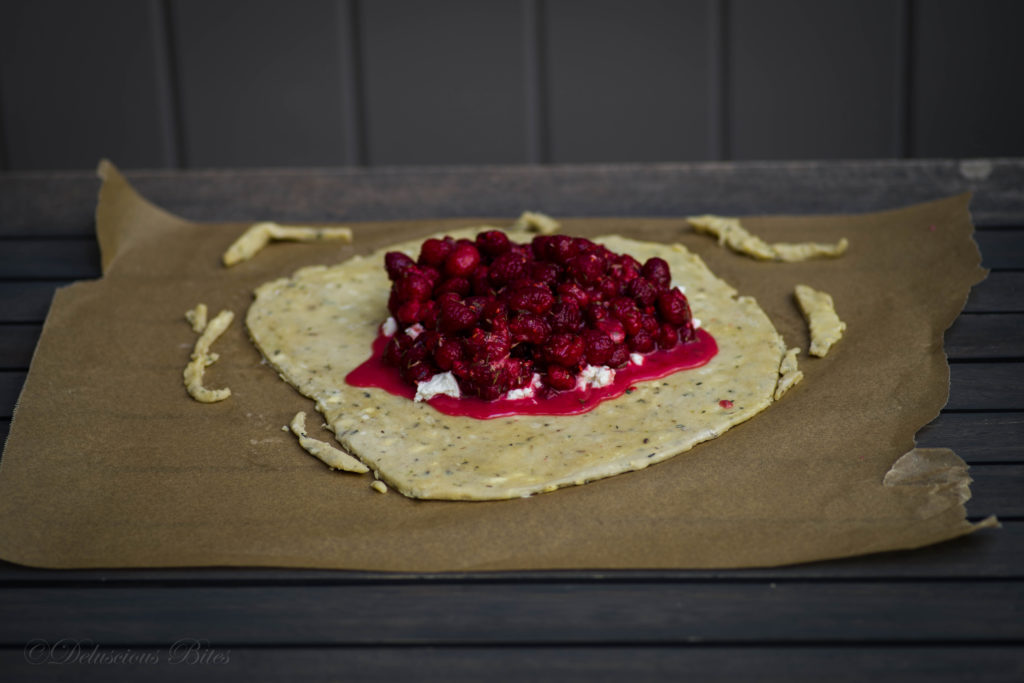 Fresh Raspberry Lavender Goat Cheese Galette-Crostata collage 11